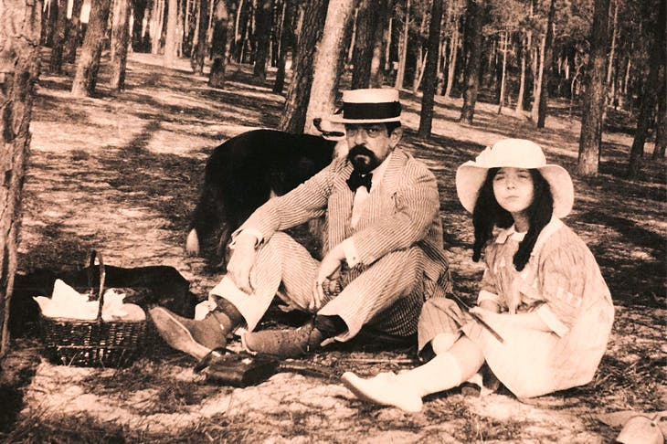 Claude Debussy and his daughter Chouchou near Arcachon, France, 1915