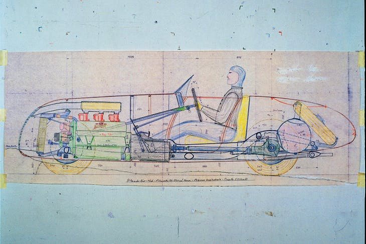 Draft of the first Ferrari car, 125 S, designed by Gioachino Colombo, 1945