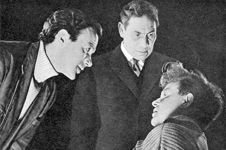 The 1958 world première of Pinter's The Birthday Party at the Lyric Hammersmith: John Stratton as McCann, John Slater as Goldberg and Richard Pearson as Stanley