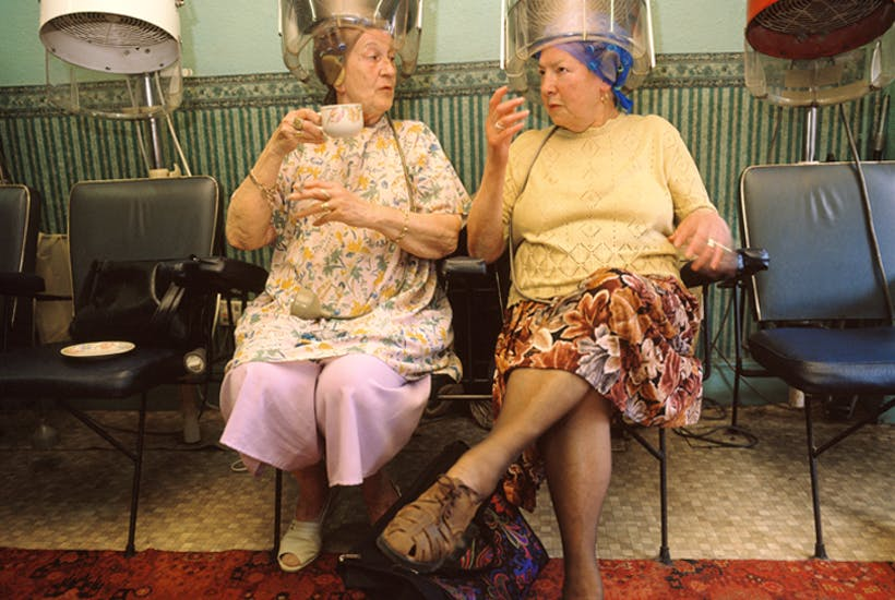 Girls in the hood: traditional hairdresser in Nottingham, 1996