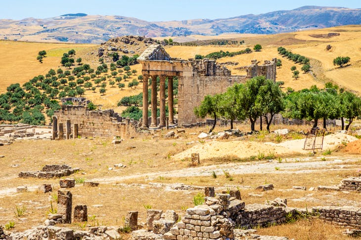 The ruins of Dougga, Tunisia convinced Ibn Khaldun that North Africa had once been extremely prosperous and heavily populated