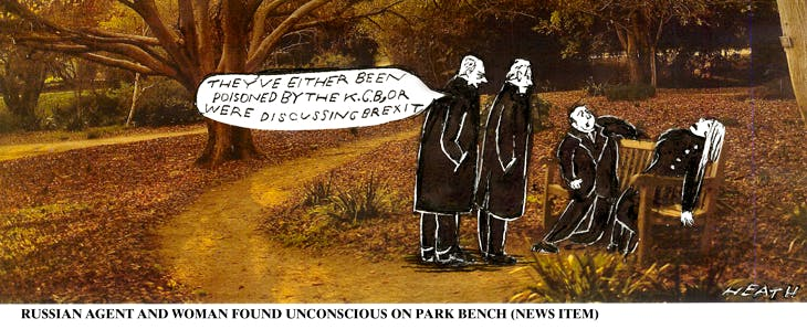 """Man and woman found unconscious on a park bench. Observers: """"They've either been poisoned by the K.G.B., or were discussing Brexit."""""""