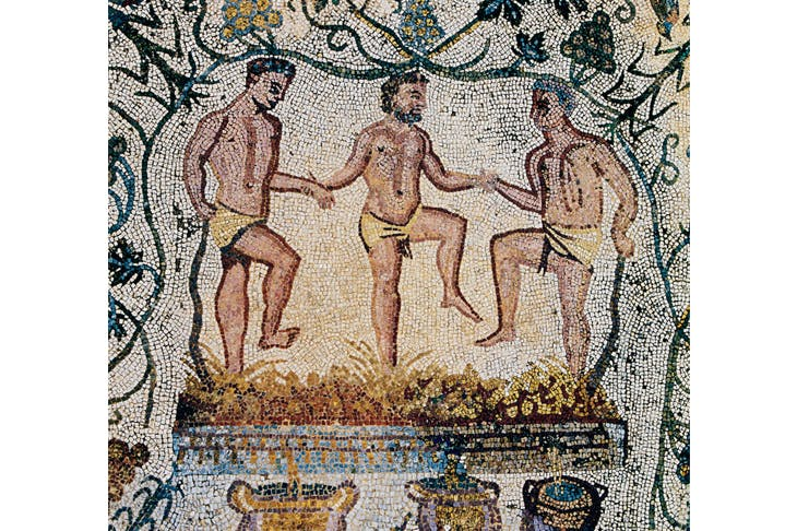 A Roman mosaic showing the crushing of grapes — but we don't know what the wine tasted like