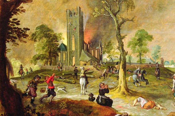 'Spanish troops loot a village in Flanders during the Thirty Years War', by Sebastian Vrancx