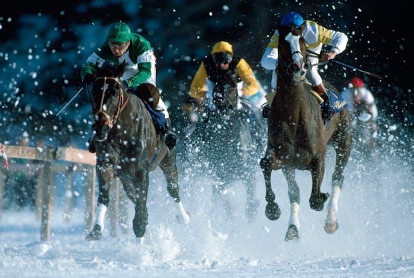 Racing on the frozen lake at St Moritz, Switzerland