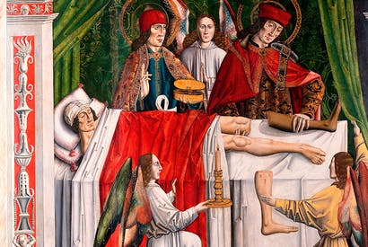 'A verger's dream: Saints Cosmas and Damian performing a miraculous cure by transplantation of a leg'. The Spanish altarpiece by the Master of Los Balbases depicts a vision described in Jacobus de Voragine's late medieval Legenda Aurea. (From Medieval Bodies, by Jack Hartnell)