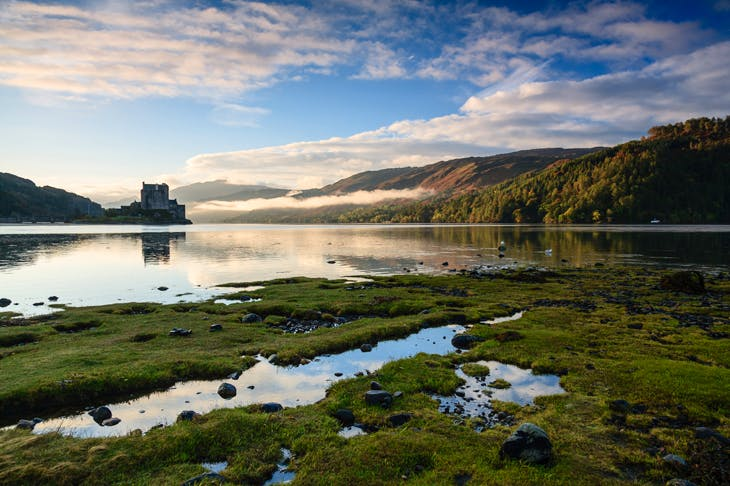 Eilean Donan Castle on Skye, with peat bog and marsh in the foreground