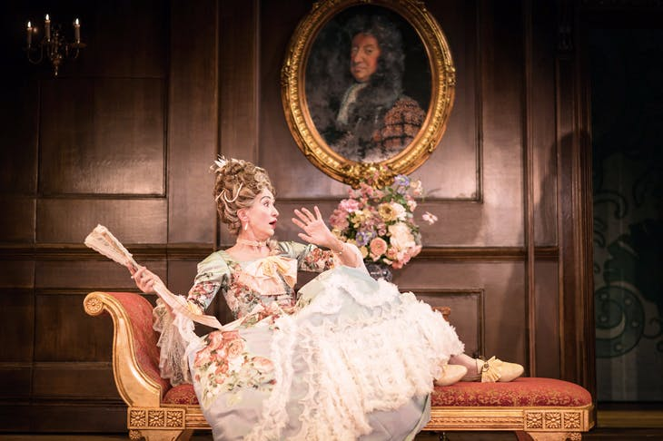 Haydn Gwynne gallantly plays the ageing sexpot Lady Wishfort in The Way of the World at the Donmar Warehouse