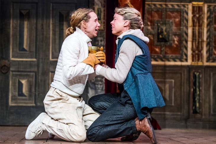 Michelle Terry as Hamlet and Catrin Aaron as Horatio at Shakespeare's Globe. (Photo: Tristram Kenton)