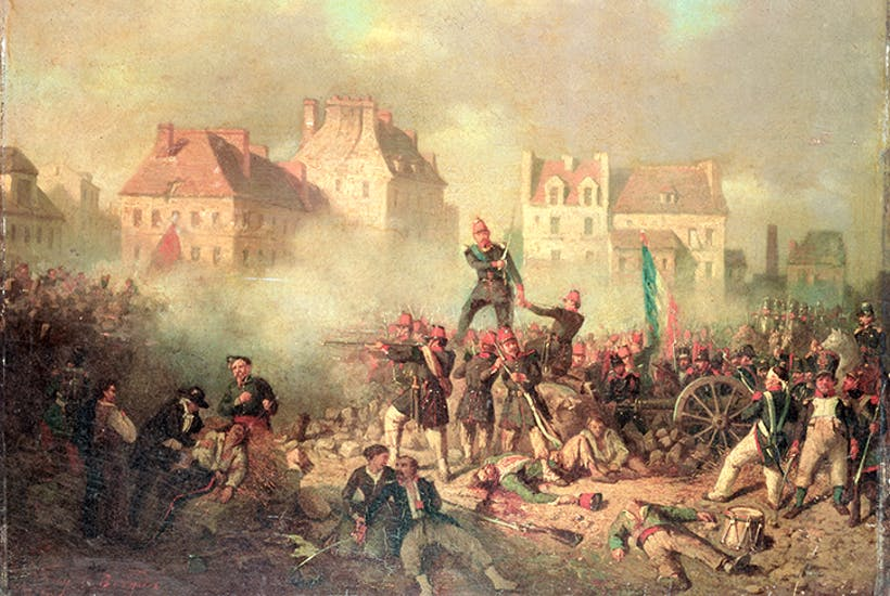 Before fleeing to London, Emmanuel Barthélemy commanded a barricade during the June Days uprising in Paris in 1848. Painting by Tony-François de Bergue