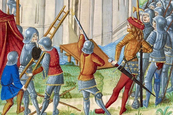 The Siege of Acre, depicted in Chroniques de France ou de Saint Denis (1487)