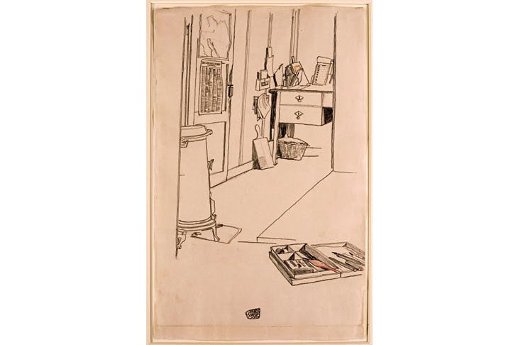 'Office at the Mühling prisoner-of-war camp', 1916, by Egon Schiele