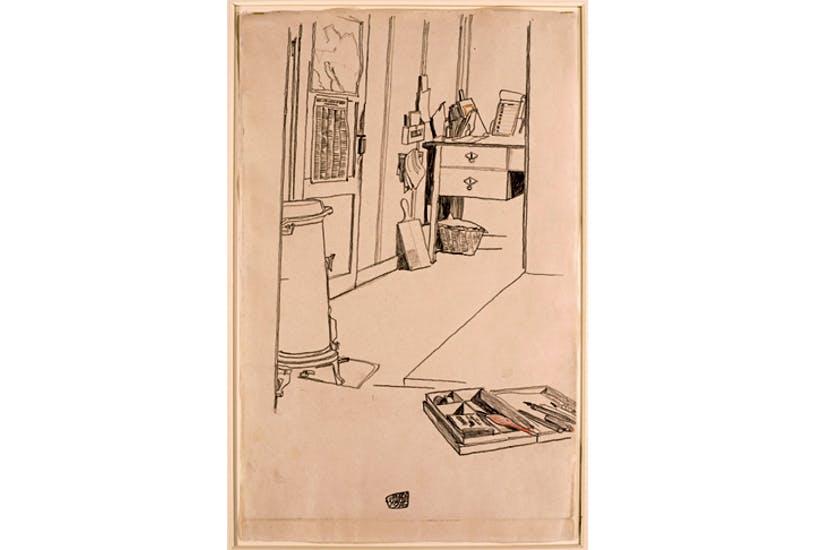 'Office at the Mühling prisoner-of-war camp', 1916, by Egon Schiele