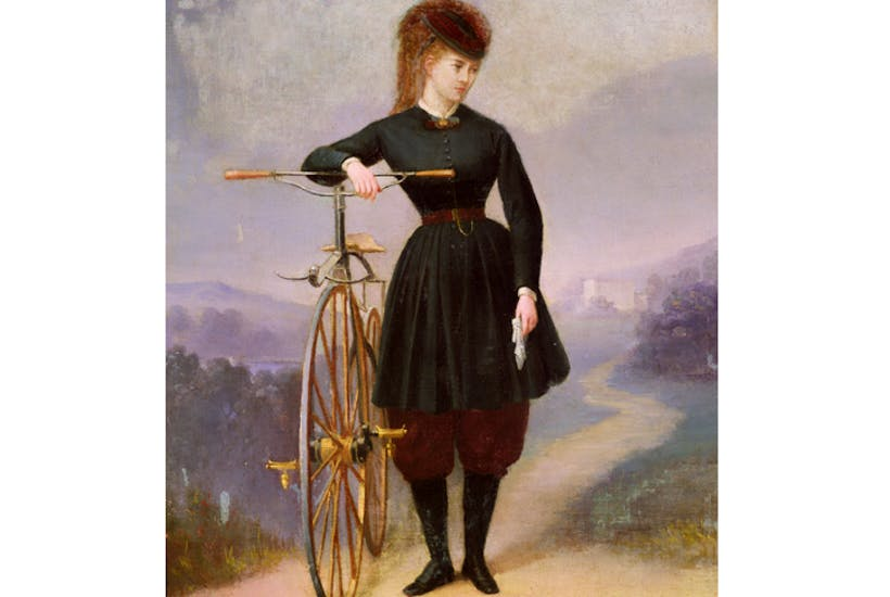 The actress and singer Blanche d'Antigny with her velocipede