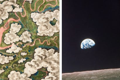 The earliest aerial drawing, made from a balloon basket, by Thomas Baldwin, 1785, left, and Apollo 8's 'Earthrise', right, 50 years old