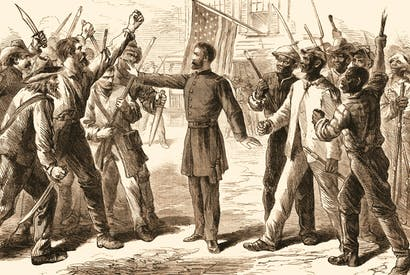 An agent from the Freedman's Bureau separates freed slaves from an angry mob at the end of the American civil war. Credit Getty Images