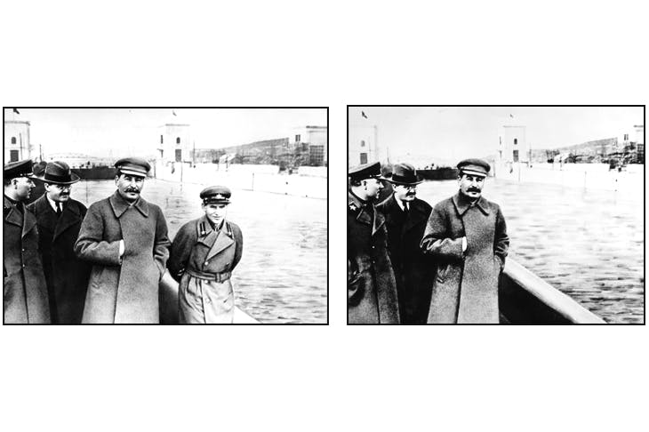 Now you see him, now you don't: Nikolai Yezhov, nicknamed 'the poison dwarf', who as head of the NKVD presided over mass arrests and executions at the height of the Great Purge, was airbrushed from Soviet history after his own execution in 1940