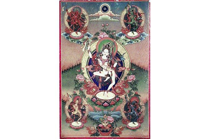 Tibetan thanka representing the dakini Princess Mandaravna