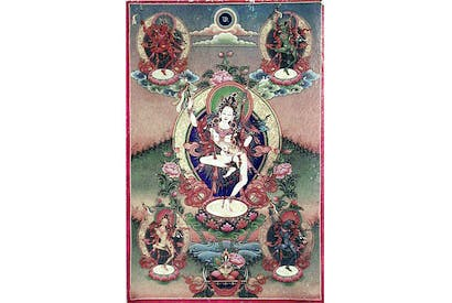 Tibetan thanka representing the dakini Princess Mandaravna