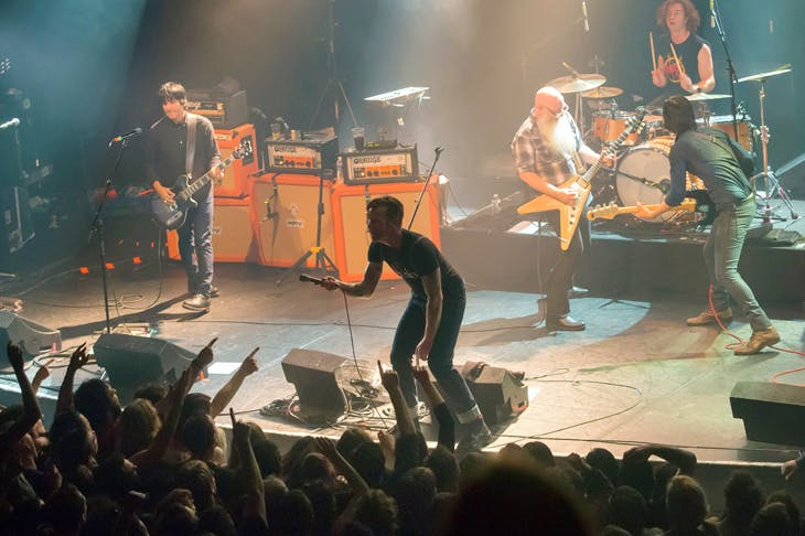 Eagles of Death Metal performing at the Bataclan theatre in 2015 a few moments before the attack by Islamic terrorists. Photo: AFP / Marion Ruszniewski / Getty Images