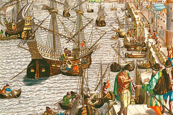 'Departure from Lisbon for Brazil, the East Indies and America', by Theodore de Bry, 16th century