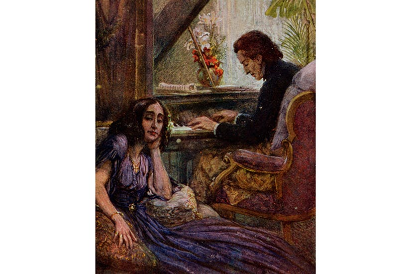 George Sand listening to Chopin play the piano (Adolf Karpellus, private collection)