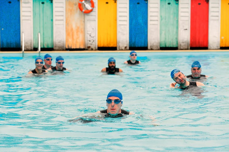 That sinking feeling: Rob Brydon (Eric) and his fellow asshats in Swimming with Men