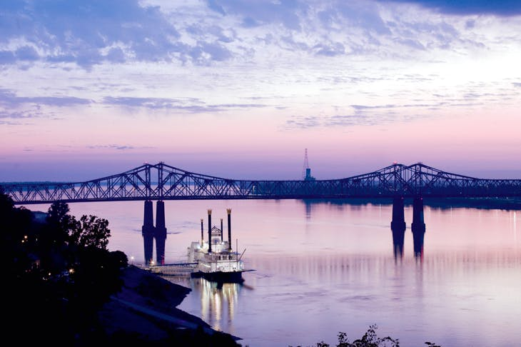 'Old Glory' flowing through Natchez, Mississippi