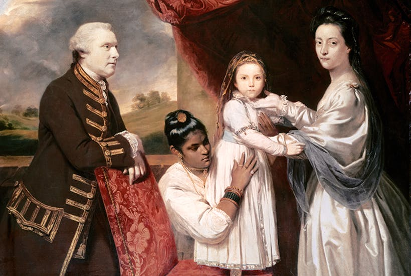 Joshua Reynolds's portrait of Tysoe Saul Hancock, his wife Philadelphia (née Austen) and daughter Eliza (rumoured to have been the child of Warren Hastings) with their Indian maid Clarinda, c. 1764–5. Eliza was Jane Austen's cousin and later sister-in-law, and is said to have inspired several of Austen's characters, including the playful Mary Crawford in Mansfield Park