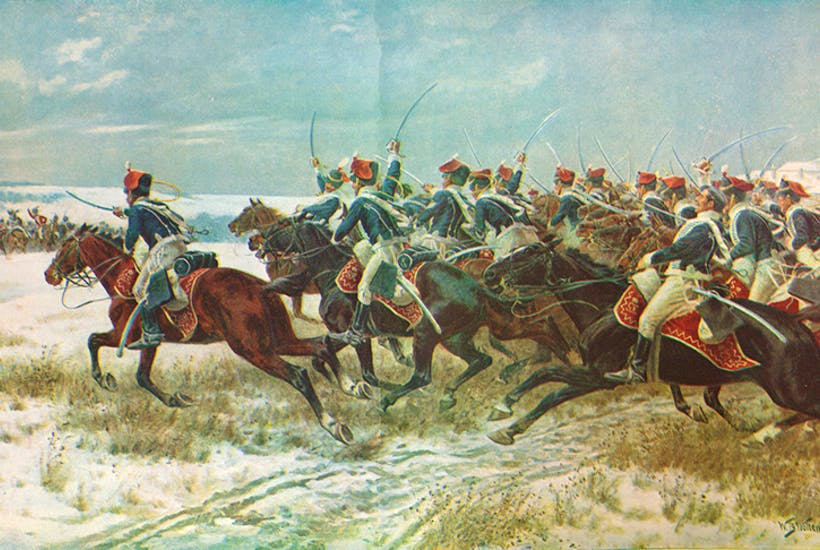 'The Charge of the 10th Hussars at Benevente (Corunna Campaign), 1809', c1915 (1928)