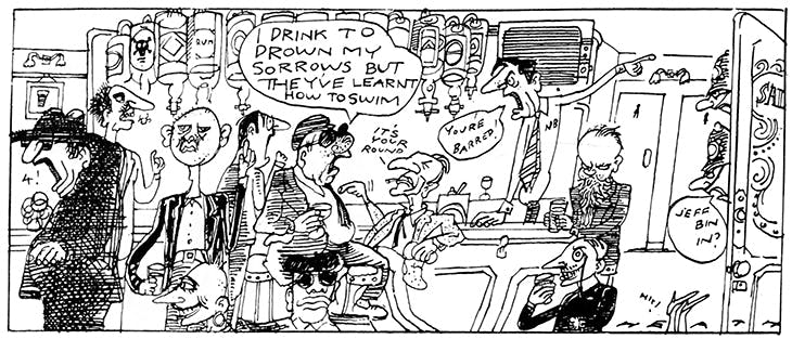 The drinkers of the Coach and Horses in Michael Heath's 'The Regulars' cartoon strip. Christopher Howse sits at the right end of the bar