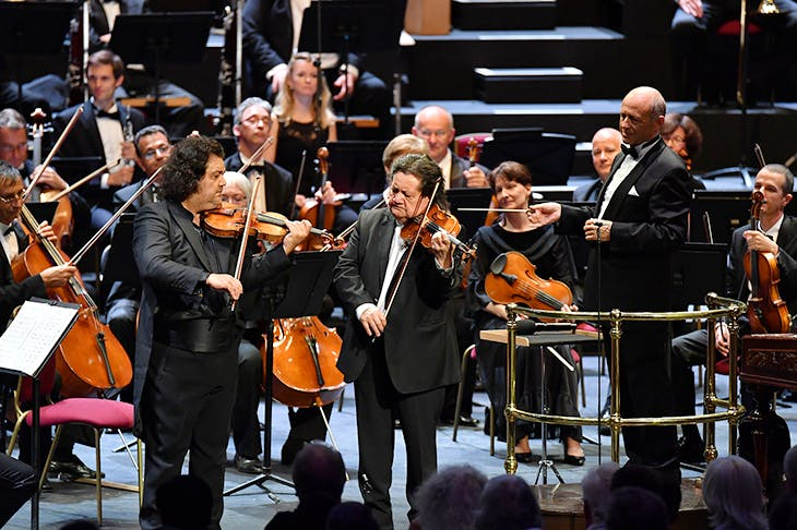 Jozsefs Lendvai and Lendvay with Ivan Fischer and the Budapest Festival Orchestra at the Proms. Image: BBC/Chris Christodoulos
