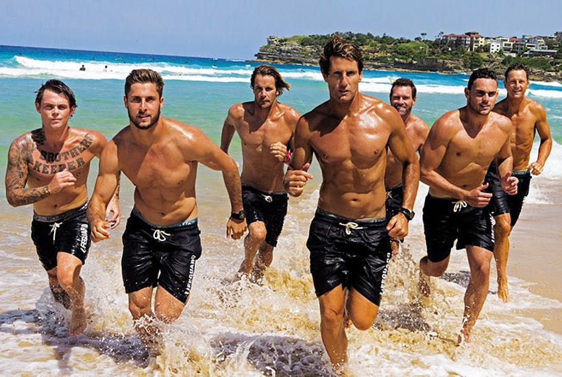 The rough, simple and cheerily thick lifeguards of Bondi Rescue. Image: Mojo Down Under