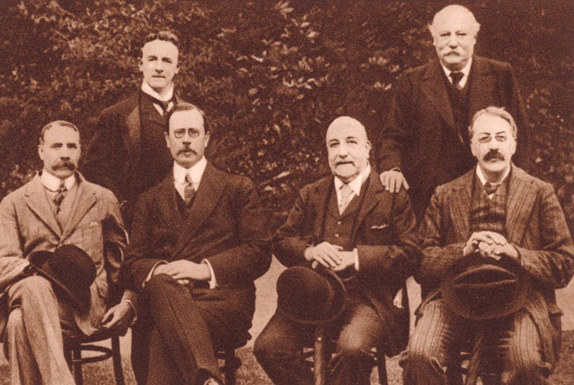 Before the dawn: Sir Edward Elgar, Sir Dan Godfrey, Sir Alexander Mackenzie and Sir Charles Stanford, seated. Standing: Sir Edward German and Sir Hubert Parry. Bournemouth Centenary Festival, 1910