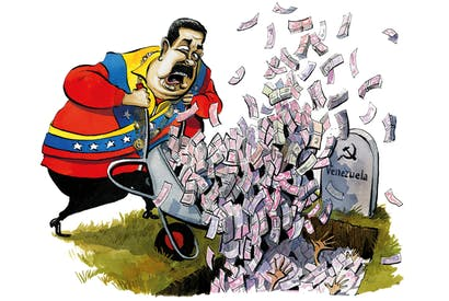 Illustration of Maduro wheelbarrowing money into a grave with a headstone marked 'Venezuela'