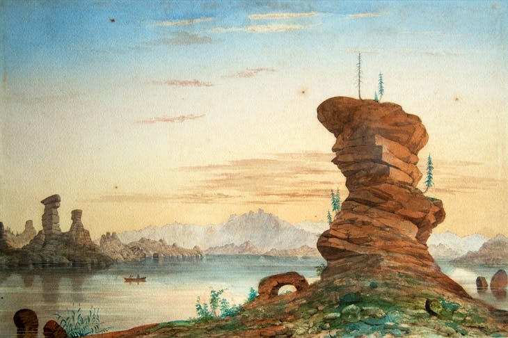 Lake Kolyvan in the Altai Republic. Watercolour by Thomas Atkinson