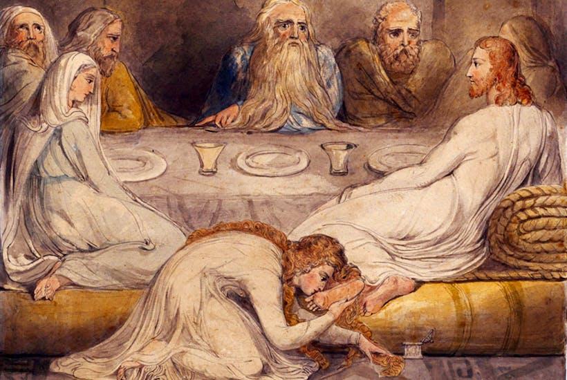 Mary Magdalene washing Christ's feet by William Blake, c.1805