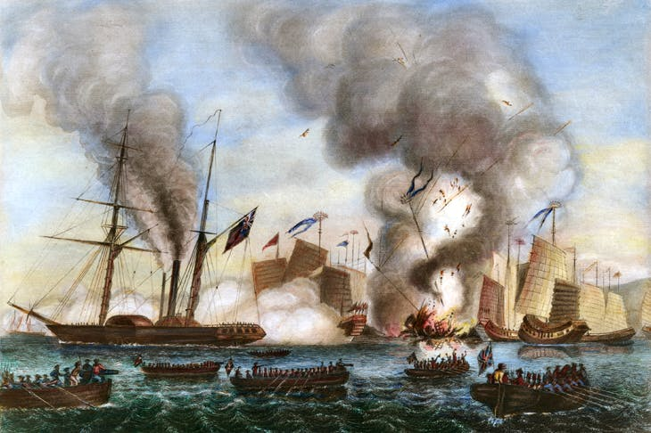 The First Opium War: The East India Company's Nemesis and other boats destroy the Chinese war junks in Anson Bay, 7 January 1841 [Bridgeman Art Library]