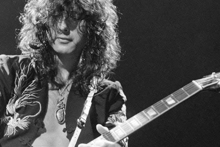 Jimmy Page performing with Led Zeppelin in May 1975. 'He did believe that he had the power to control the universe'
