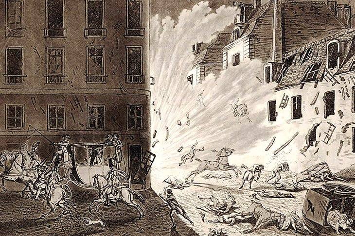 The assassination attempt on Napoleon, in the Rue Saint-Nicaise, Christmas Eve 1800