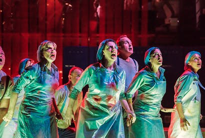Chorus of approval: the ENO chorus gives it the full Broadway, triple threats to a man, in Benjamin Britten's Paul Bunyan (Photo: Genevieve Girling)