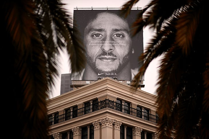 Caption: Nike's new campaign starring American football quarterback Colin Kaepernick strains to be poetic. Photo: Getty