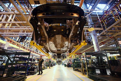 The production line at the Jaguar Land Rover factory in Solihull, England. Photo: Getty