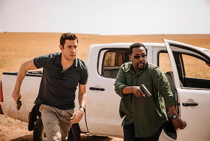It's trash of course, but high-octane, watchable trash: John Krasinski and Wendell Pierce in Tom Clancy's Jack Ryan (Amazon Studios)