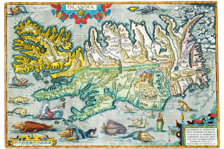'Islandia': map of Iceland , complete with sea monsters, from the 16th-century Theatrum Orbis Terrarum by Abraham Ortelius
