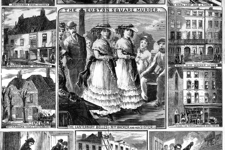The central image is of the middle-aged Matilda Hacker and her sister Amelia, strolling on the seafront in Kent. Dressed identically in flounced skirts, lace shawls and gaudy sashes, they were referred to as 'the Canterbury belles'. Cover of The Illustrated Police News, 7 June 1879