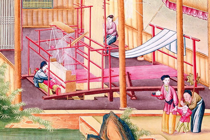 Silk-weaving in China. An illustration from a book on the silk industry. Chinese school, 19th century