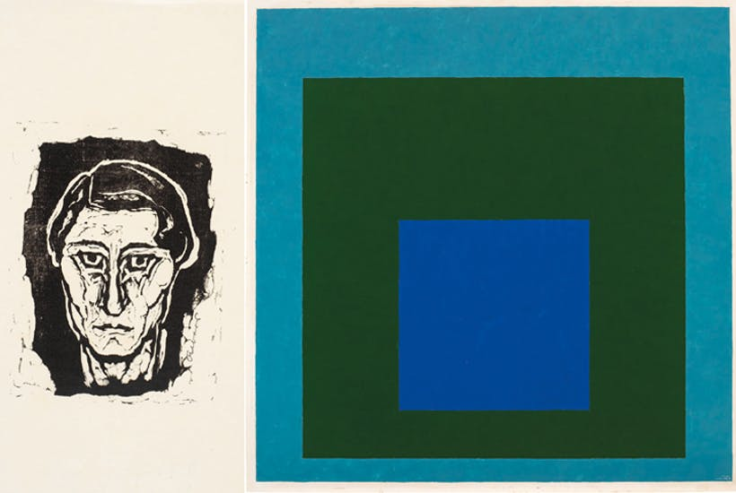 Left: 'Self-portrait,' 1916. Right: Homage to the Square: Renewed Hope', 1951 by Josef Albers