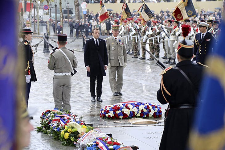 French President Emmanuel Macron during a wreath laying ceremony in front of the Tomb of the Unknown Soldier at the Arc de Triomphe in Paris on November 11, 2017 during the Armistice Day commemorations marking the end of the first world war