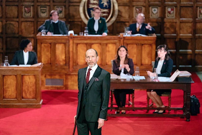 Court in the act: Simon Paisley Day as Sir Walter Raleigh in Ralegh: The Treason Trial at the Sam Wanamaker Playhouse